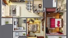 Rancangan desain rumah 2 kamar