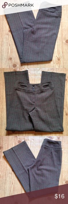 """Dress Barn size 4 brown dress pants Dress Barn brown size 4 dress pants. A plaid design. Has two fake pockets on the front. 65% polyester, 32% rayon and 3% spandex. 30"""" waist. 41 1/2"""" outseam. 31 1/2"""" inseam. 20"""" ankle. 24"""" thigh. 11"""" rise. No trades, offers welcome! Dress Barn Pants Straight Leg"""