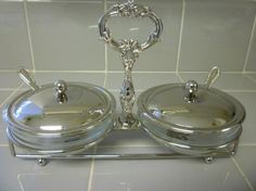 SERVING SET. English Style Silver Serving by TheBrambleyCottage
