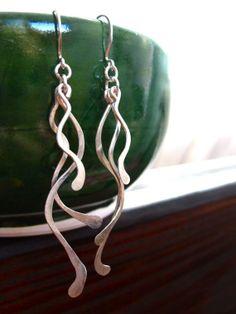 Seaweed Sterling silver wavy Earrings by Tidepools on Etsy, $32.00