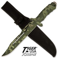 13 in Digital Camo Combat Hunting Knife. 13 in Digital Camo Combat Hunting KnifeTiger USA Xtreme Combat / SurvivalKnife Overall Length 13-1/8 Blade Length: 7-7/8 Blade Material:1098 German Surgical Steel with digital Camo Finish Handle Material:Digital Camo FinishedABS Sheath: Custom fit Nylon with belt loopHand Crafted in China741360516403