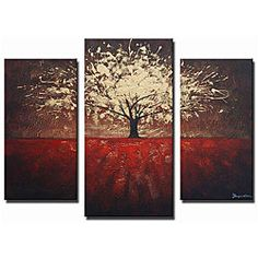 @Overstock.com - 'Golden Foliage' Hand-painted Canvas Art - Create a dramatic focal point in any room with this extra-large abstract hand-painted canvas art. 'Golden Foliage' displays a warm red field with a gorgeous golden tree with a burgundy background, which splays across three ready-to-hang canvases. http://www.overstock.com/Home-Garden/Golden-Foliage-Hand-painted-Canvas-Art/5286004/product.html?CID=214117 $149.99