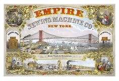 Vintage Print New York Brooklyn Suspension Bridge, sewing machines, and transportation by stagecoach and railroad train 1883 Manhattan Map