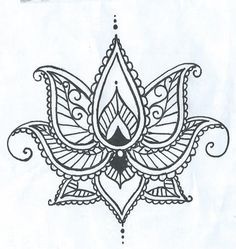 Lotus Temporary Tatto With Paisley Henna Style Petals Hand Drawn Illustration More                                                                                                                                                                                 More