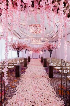 Las Vegas Wedding Planner Andrea Eppolito produced this very pretty in pink wedding filled with cherry blossoms and trees at the Waldorf Astoria Las Vegas. Images by Adam Frazier. Floral and Decor by Javier Valentino. Pink Wedding Theme, Wedding Goals, Wedding Planning, Dream Wedding, Wedding Day, Princess Wedding Themes, Wedding Places, Wedding Ring, Cherry Blossom Party