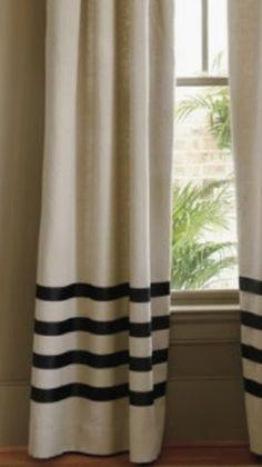 add grosgrain ribbon to make stripes on plain curtains #stripedcurtains #DIY #home
