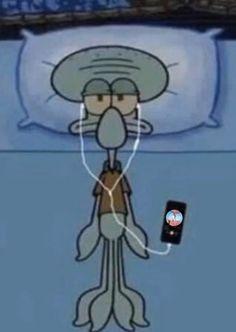 squidward listening to pentagon Cartoon Wallpaper Iphone, Mood Wallpaper, Cute Disney Wallpaper, Cute Cartoon Wallpapers, Cartoon Memes, Cartoon Pics, Funny Memes, Spongebob Memes, Funny Quotes