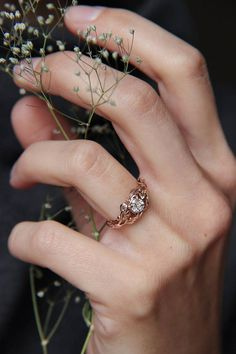 Rose gold engagement ring diamond ring custom engagement
