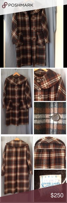 Beautiful vintage 60s/70s plaid coat Beautiful coat in excellent condition.  Brown plaid pattern. Price reflects condition of coat. May have musty smell due to storage. Color may look different on your screen.  Please ask questions before buying. Vintage Jackets & Coats