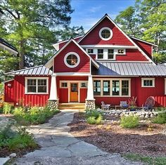 I absolutely love this, but it wouldn't work on our house. Trim: White / Siding: Million Dollar Red #2003-10 Barn red is fun in country locations, wooded lots or New England seaside regions, but NOT on suburban houses in gated communities.