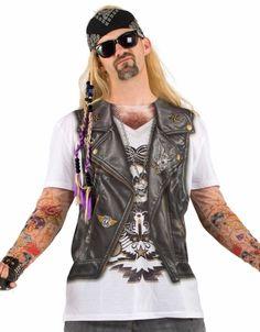 Biker Costume ---  (Leather Vest/Jacket, Skull Tee, Bandana, Jeans, 'Tattoos', Sunglasses)