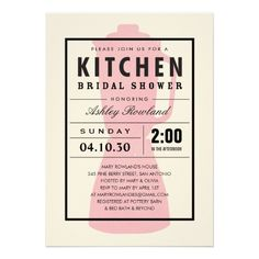 Pink Blender Kitchen Shower Invitations