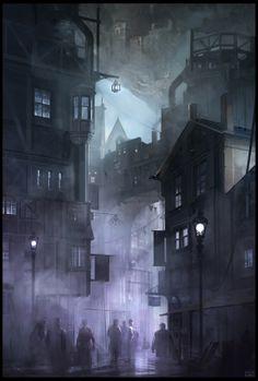 ArtStation - New Avalon, Min Nguen Fantasy City, Fantasy Places, Fantasy World, Fantasy Concept Art, Dark Fantasy Art, Environment Concept Art, Environment Design, Foto Gif, Dark City