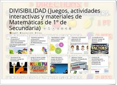 """""""10 juegos, actividades interactivas y materiales sobre DIVISIBILIDAD de 1º de Secundaria"""" Apps, Interactive Activities, Learning, App, Appliques"""