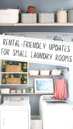 Small Laundry Rooms, Laundry Room Organization, Diy Organization, Rental Decorating, Decorating Small Spaces, Decorating Tips, Hanging Drying Rack, Small Apartment Living, Apartment Interior Design