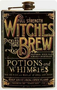 Retro A Go Go Theatre Bizarre Witches Brew Flask Vintage Apothecary Inspired Halloween Labels, Holidays Halloween, Halloween Crafts, Happy Halloween, Halloween Decorations, Halloween Stuff, Halloween Ideas, Halloween Apothecary, Halloween Potions