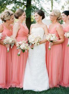 Pretty coral bridesmaid frocks: http://www.stylemepretty.com/vault/gallery/38325 | Photography: Faith Teasley - http://faithteasley.com/