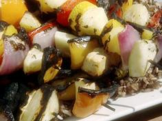 Veggie Kabobs with Herb and Garlic Marinade recipe from BBQ with Bobby Flay via Food Network add large or jumbo shrimp/smoke minutes Other Recipes, Veggie Recipes, Vegetarian Recipes, Cooking Recipes, Kabob Recipes, Healthy Recipes, Delicious Recipes, Kabob Marinade, Gourmet