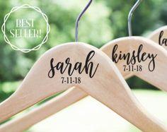Personalized Bridesmaid Hangers, Wooden Wedding Hangers, Bride Hanger, Wedding Dress Hanger by TheWhiteInviteGifts