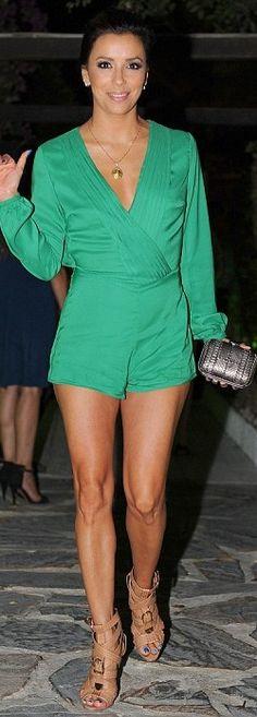 Eva Longoria: Romper - Pixi Market Shoes - Brian Atwood