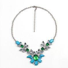 Green Adjustable Crystal Choker Statement Necklace