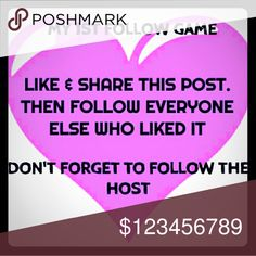 ☞LIKE & SHARE this post to be in my follow game☜ LIKE this post  FOLLOW all who liked it  SHARE this listing  DON'T FORGET TO FOLLOW ME 😁  CHECK BACK OFTEN  Let's watch our followers grow together! Other