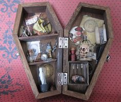 The Attic  Miniature Coffin shadow box by AhtheMacabre on Etsy, $54.00