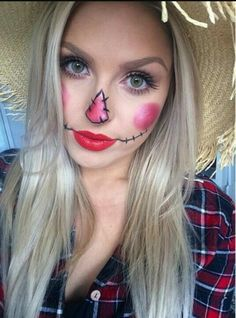"""""""Super easy scarecrow makeup for Halloween! ❤️ this will be uploaded in the next couple of weeks or so ☺️ . Scarecrow Halloween Makeup, Halloween Costumes 2014, Halloween Costumes Scarecrow, Halloween Scarecrow, Halloween Makeup Looks, Easy Halloween, Holidays Halloween, Diy Costumes, Costume Ideas"""