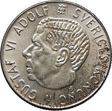 1962 SWEDEN King GUSTAV VI ADOLF Krona Silver SWEDISH Coin Coat of Arms i56601