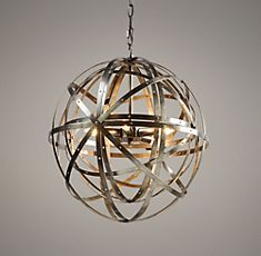 Pewter pendant light made of concentric orbs. A little something mathematical for a young student in the making.