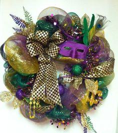 mardi gras wreaths | Mardi Gras Deco Mesh Wreath New Orleans Style Door Wreath