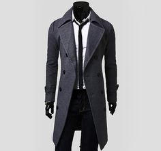 Solid Color Turndown Collar Elegant Double-Breasted Long Sleeves Woolen Trench Coat For Men Dispatch: Ships within 3 business days. FREE SHIPPING