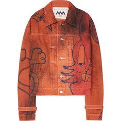 Alex Mullins Jacket (43,725 PHP) ❤ liked on Polyvore featuring outerwear, jackets, jean jacket, denim jacket, red denim jacket, red jacket and red jean jacket