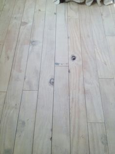 "plywood floors whitewashed with ASCP and sealed with acrylic poly (""Stay Clear"")"