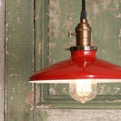 Pendant Light With Red Enamel Shade by lucentlampworks on Etsy, $118.00