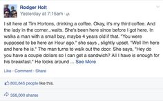 A Kind Stranger Gives A Note To A Hungry Mother At Tim Hortons, She Can't Hold Back The Tears After Reading What It Says...