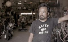 Shinya in his wonderful work shop. Would love to give my guy one. Let him design, build and tinker to his heart's content but he has to share! Antique Motorcycles, Biker Style, My Guy, Cool Bikes, Cool Shirts, Motorbikes, Documentaries, How To Look Better, Mens Tops