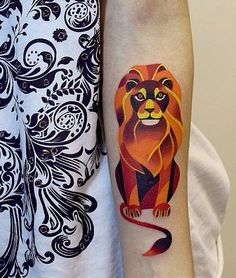 Leo Zodiac Lion Tattoo Love the design.