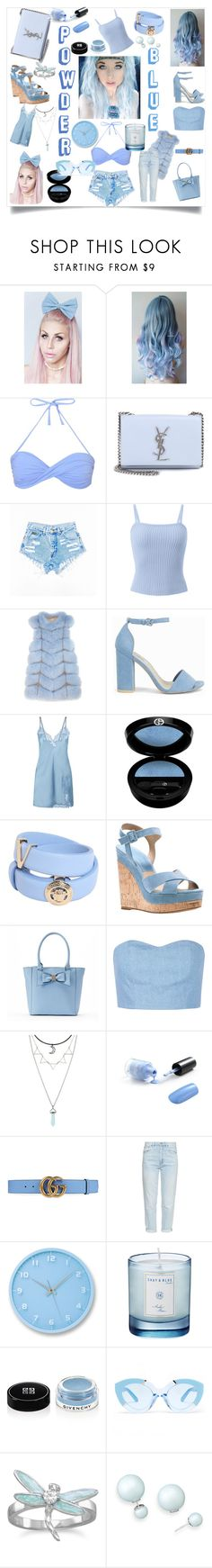 """""""Powder Blue Dreams"""" by neesyrn ❤ liked on Polyvore featuring Melissa Odabash, Yves Saint Laurent, Pologeorgis, Nly Shoes, Giorgio Armani, Versace, Michael Kors, Apt. 9, Julien David and Gucci"""