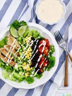 This Southwest BBQ Chicken Salad with Dairy-Free SW Buttermilk Ranch Dressing is an easy family dinner recipe AND perfect for meal prep!