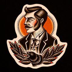 Oldschool Gentleman by hoodintattooer Gentleman Tattoo, Tattoo Flash Art, American Traditional, Male Face, Traditional Tattoo, Tattoos For Guys, Old School, Instagram Posts, Etsy
