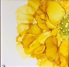 A yellow beauty, alcohol ink on 6 inch tile