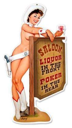 Vintage-Retro Cowgirl Saloon Custom Shape - Pin-Up Girl Metal Sign -