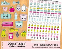 Kawaii planner stickers Perfect to keep you motivated on your diet and exercise routine!