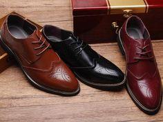 Mens Classic Brogue Dress Shoes
