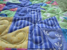Up close to the swirl quilting