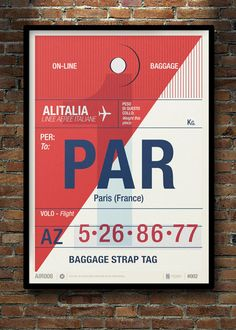 Flight Tag Print - Paris (France) by Neil Stevens, Printed on High White Smooth uncoated paper. Paris France, France 5, Poster Design, Design Art, Print Design, Ticket Design, Tag Design, Smart Design, Retro Design