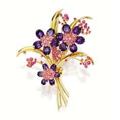 """Amethyst and pink sapphire bouquet brooch. Van Cleef & Arpels. """"Modelled as a bouquet, the petals set with oval amethysts together weighing approximately 20.00 carats, embellished by pink sapphires together weighing approximately 4.00 carats, mounted in 18 karat yellow gold, signed and numbered BL84708."""" Source: Sotheby's."""