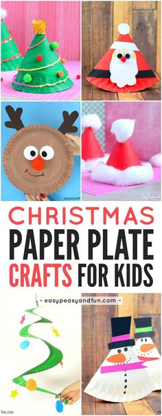 Paper Plate Christmas Crafts for Kids to Make. Great for kindergarten and preschool!