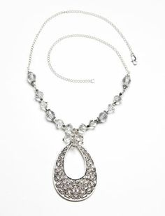 silver elegance drop pendant necklace with crystal accents